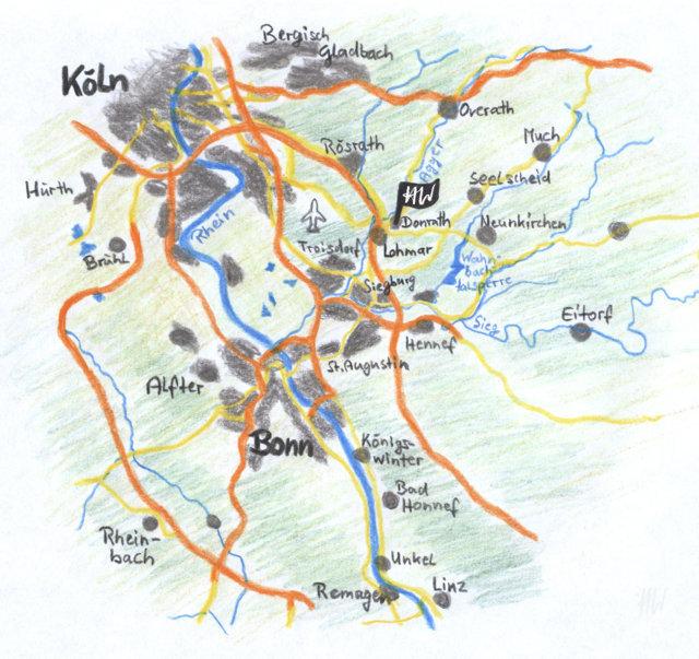 Heidrun Wettengl: Skizze der Karte von Donrath, 2017. Alle Rechte vorbehalten.