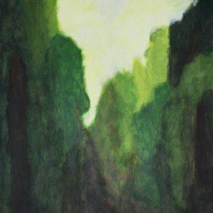 Heidrun Wettengl: Dichtes Grün, Acryl auf Papier, 65x50 cm, 2015. Alle Rechte vorbehalten.