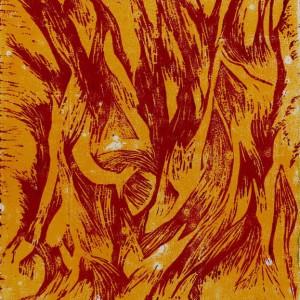Heidrun Wettengl: Flamme - Variante 2, Farbholzschnitt auf Papier, 42x29,7 cm, 2012. Alle Rechte vorbehalten.