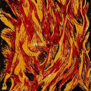 Heidrun Wettengl: Flamme - Variante 3, Farbholzschnitt auf Papier, 42x29,7 cm, 2012. Alle Rechte vorbehalten.