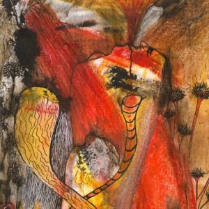 Heidrun Wettengl: Schicksal 2, Tusche/Wachskreide/Aquarell auf Papier, 29,7x21 cm, 2012. Alle Rechte vorbehalten.