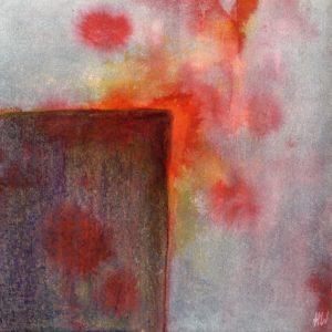 Heidrun Wettengl: Scratches 1, Tusche und Wachskreide auf Papier, 20x20 cm, 2012. Alle Rechte vorbehalten.