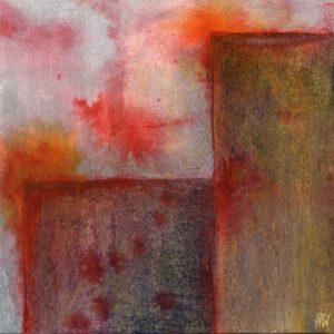 Heidrun Wettengl: Scratches 2, Tusche und Wachskreide auf Papier, 20x20 cm, 2012. Alle Rechte vorbehalten.