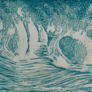 Heidrun Wettengl: Welle - Etappe 2, (verlorener) Farbholzschnitt auf Papier, 29,7x42 cm, 2012. Alle Rechte vorbehalten.