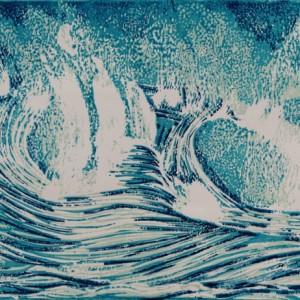 Heidrun Wettengl: Welle - Etappe 3, (verlorener) Farbholzschnitt auf Papier, 29,7x42 cm, 2012. Alle Rechte vorbehalten.