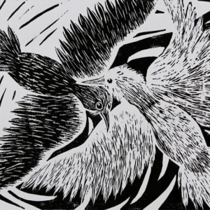 Heidrun Wettengl: Zwei - Eins - ... - Variante 1, Holzschnitt auf weißem Papier, 29,7x42 cm, 2012. Alle Rechte vorbehalten.