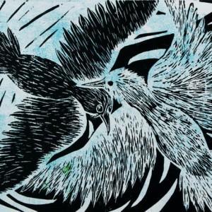 Heidrun Wettengl: Zwei - Eins - ... - Variante 2, Holzschnitt auf weißem Papier, 29,7x42 cm, 2012. Alle Rechte vorbehalten.