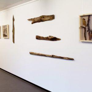 Heidrun Wettengl: Holz 3.0 (Ausstellungsansicht), Wandinstallation, Holzobjekte, Objektkästen jeweils 52x52 cm, 2014. Alle Rechte vorbehalten.