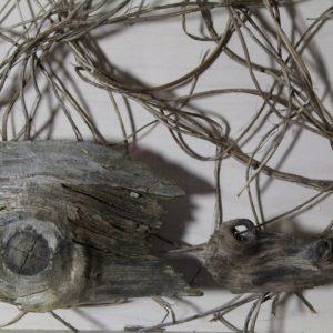 Heidrun Wettengl: Holz 3.0 (Detail 3), Wandinstallation, Holzobjekte, Objektkästen jeweils 52x52 cm, 2014. Alle Rechte vorbehalten.