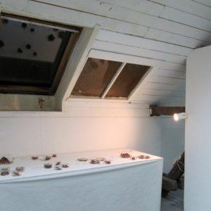 Heidrun Wettengl: Im Fokus (Abendansicht), Installation, welke Weinblätter, Gläser, 2013. Alle Rechte vorbehalten.