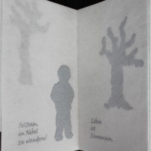 Heidrun Wettengl: Im Nebel, Künstlerbuch (Seiten 13-14), Mixed Material, 30x19,5 cm, 2014. Alle Rechte vorbehalten.