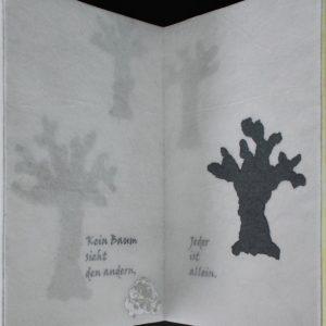 Heidrun Wettengl: Im Nebel, Künstlerbuch (Seiten 3-4), Mixed Material, 30x19,5 cm, 2014. Alle Rechte vorbehalten.