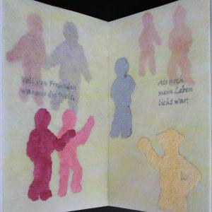 Heidrun Wettengl: Im Nebel, Künstlerbuch (Seiten 5-6), Mixed Material, 30x19,5 cm, 2014. Alle Rechte vorbehalten.