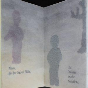 Heidrun Wettengl: Im Nebel, Künstlerbuch (Seiten 7-8), Mixed Material, 30x19,5 cm, 2014. Alle Rechte vorbehalten.