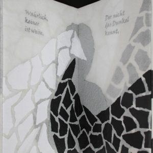 Heidrun Wettengl: Im Nebel, Künstlerbuch (Seiten 9-10), Mixed Material, 30x19,5 cm, 2014. Alle Rechte vorbehalten.