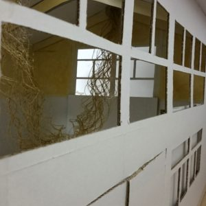 Heidrun Wettengl: Seil-Schafft (Modelleinblick), Installationsidee, Fotoserie, 19x11 cm, Modell aus Pappe, Seil, Draht, 2015. Alle Rechte vorbehalten.