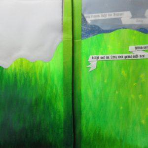 Heidrun Wettengl: Vom Lied der Erde, Künstlerbuch (Seiten 11-12), Mixed Material, 35x25 cm, 2013. Alle Rechte vorbehalten.