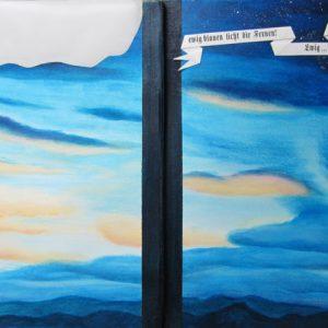 Heidrun Wettengl: Vom Lied der Erde, Künstlerbuch (Seiten 13-14), Mixed Material, 35x25 cm, 2013. Alle Rechte vorbehalten.