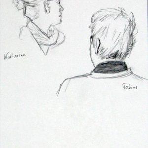 Heidrun Wettengl: Portraits auf Åsgård 1, Bleistift auf Papier, 29,7x21 cm, 2015. Alle Rechte vorbehalten.