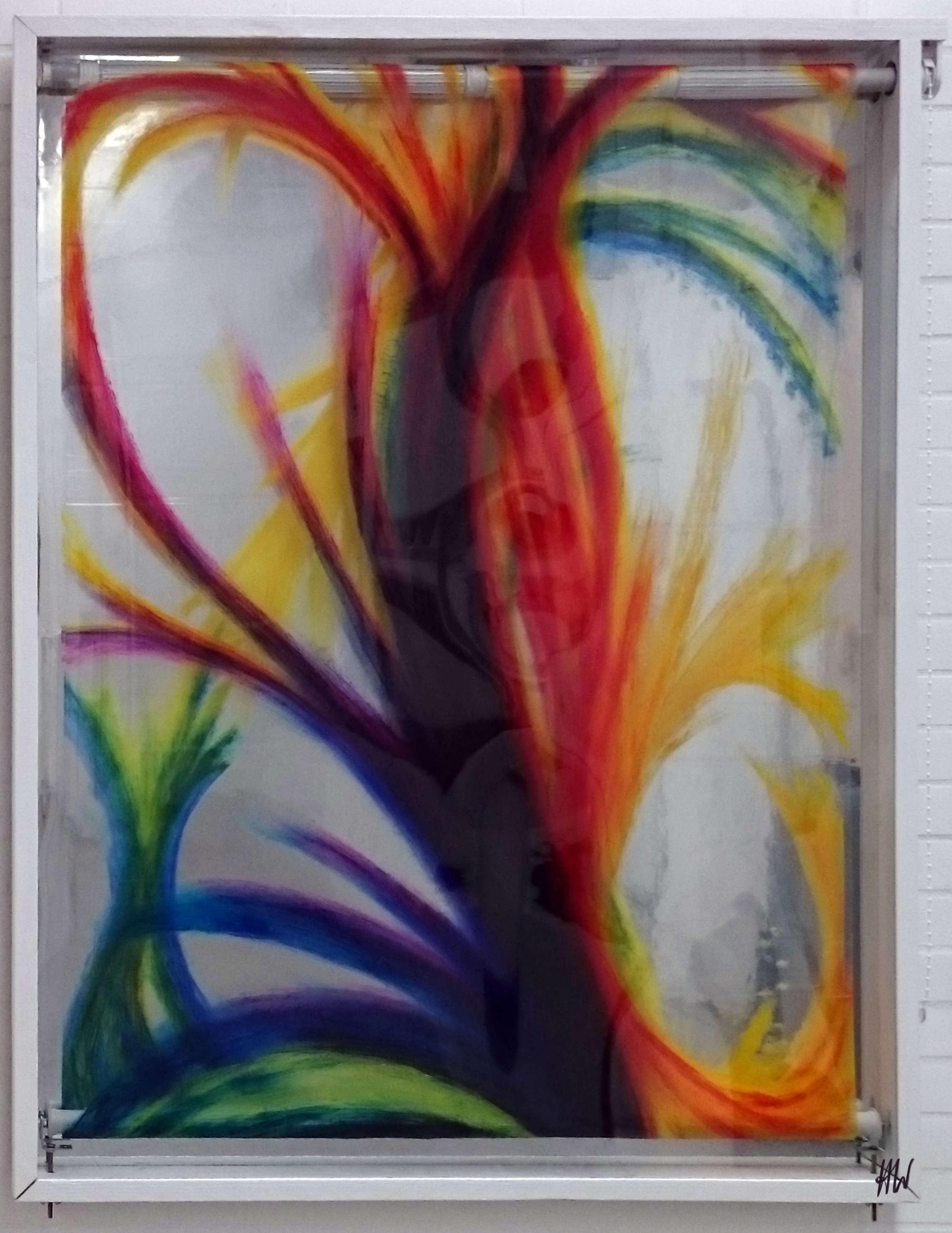 Heidrun Wettengl: Dein Bild (Ansicht 1), Rollbild (Acryl auf Klarsicht- vor Spiegelfolie), 123x95 cm, 2017. Alle Rechte vorbehalten.