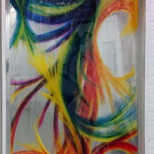 Heidrun Wettengl: Dein Bild (Ansicht 4), Rollbild (Acryl auf Klarsicht- vor Spiegelfolie), 123x95 cm, 2017. Alle Rechte vorbehalten.