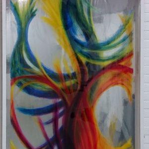 Heidrun Wettengl: Dein Bild (Ansicht 5), Rollbild (Acryl auf Klarsicht- vor Spiegelfolie), 123x95 cm, 2017. Alle Rechte vorbehalten.