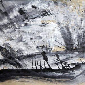 Heidrun Wettengl; Floss, Acryl auf Packpapier, 75x100 cm, 2012. Alle Rechte vorbehalten.