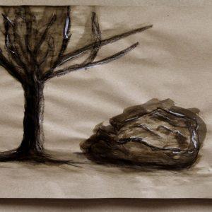 Heidrun Wettengl: Ohne Titel 1, Wachs- und Ölkreide, Schellack auf Packpapier, 50x75 cm, 2013. Alle Rechte vorbehalten.