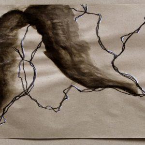 Heidrun Wettengl: Ohne Titel 2, Wachs- und Ölkreide, Schellack auf Packpapier, 50x75 cm, 2013. Alle Rechte vorbehalten.