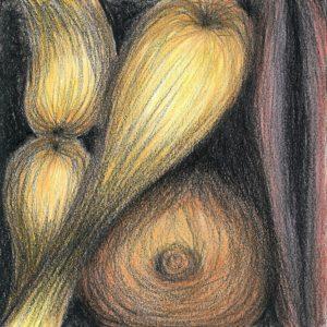 Heidrun Wettengl: Ohne Titel (Formen 2), Wachskreide, Aquarell auf Papier, 21x21 cm, 2012. Alle Rechte vorbehalten.