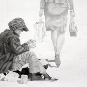 Heidrun Wettengl: Auf der Straße, Bleistift auf Papier, 67x96 cm, 2011. Alle Rechte vorbehalten.