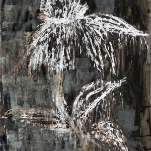 Heidrun Wettengl: Aufgeblüht, Wachs,Tusche, Bitumen auf Papier, 100x70 cm, 2011. Alle Rechte vorbehalten.