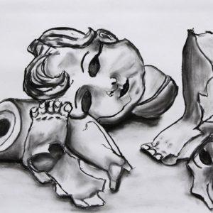 Heidrun Wettengl: Ausrangiert 1, Kohle auf Papier, 42x59,4 cm, 2011. Alle Rechte vorbehalten.