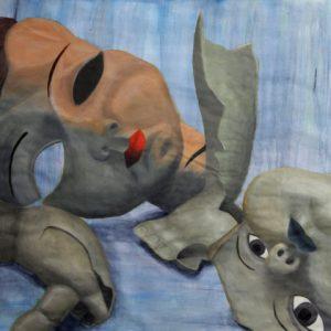 Heidrun Wettengl: Ausrangiert 7, Acryl auf Papier, 70x100 cm, 2011. Alle Rechte vorbehalten.