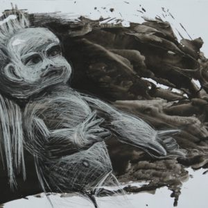 Heidrun Wettengl: Böses Püppchen 1, Tusche, Kohle, Kreide auf Papier, 70x100 cm, 2011. Alle Rechte vorbehalten.
