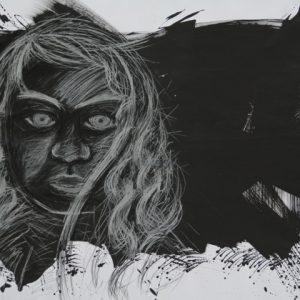 Heidrun Wettengl: Böses Püppchen 2, Acryl, Kohle, Kreide auf Papier, 70x100 cm, 2011. Alle Rechte vorbehalten.