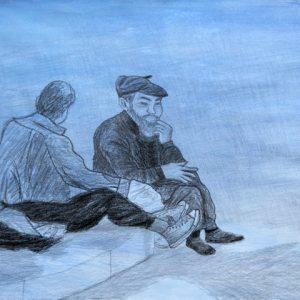 Heidrun Wettengl: Blaue Stunde, Bleistift auf lasiertem Papier, 39x56 cm, 2011. Alle Rechte vorbehalten.