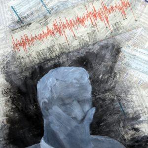 Heidrun Wettengl: Chrashes, Acryl auf Zeitungscollage, 58,5x41,5 cm, 2011. Alle Rechte vorbehalten.