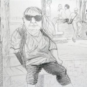 Heidrun Wettengl: Die Bankerin, Bleistift auf Papier, 24x33 cm, 2011. Alle Rechte vorbehalten.
