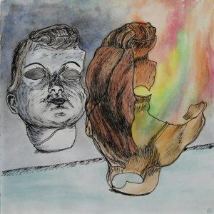 Heidrun Wettengl: Eigenbild 1, Tusche und Aquarell auf Papier, 21x21 cm, 2011. Alle Rechte vorbehalten.