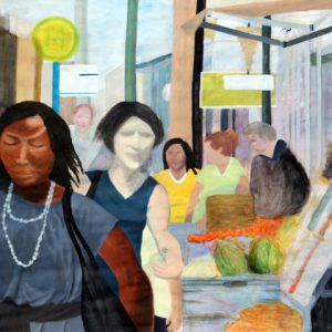Heidrun Wettengl: Ffm-City, Acryl auf Papier, 66x96,5 cm, 2011. Alle Rechte vorbehalten.