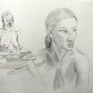 Heidrun Wettengl: In Gedanken 3, Bleistift auf Papier, 29,7x42 cm, 2011. Alle Rechte vorbehalten.