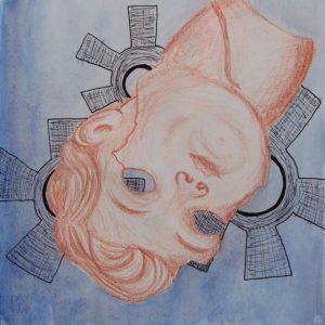 Heidrun Wettengl: Kopf unter - Gerädert 1, Rötel, Tusche, Aquarell auf Papier, 21x21 cm, 2011. Alle Rechte vorbehalten.
