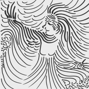 Heidrun Wettengl: Luftgöttin, Filzstift auf Papier, 21x21 cm, 2011. Alle Rechte vorbehalten.