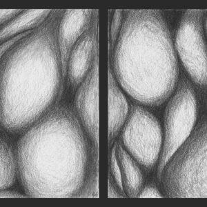 Heidrun Wettengl: Ohne Titel (Formen 1, Diptychon), Bleistift auf Papier, je 21x21 cm, 2011. Alle Rechte vorbehalten.
