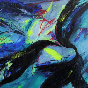 Heidrun Wettengl: Sturmvögel, Acryl auf Papier, 50x64 cm, 2011. Alle Rechte vorbehalten.