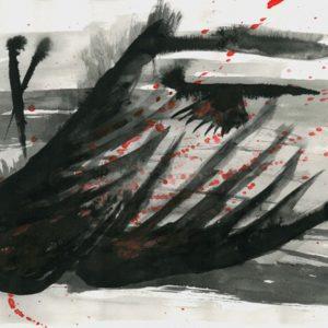 Heidrun Wettengl: Sturzflügel, Tusche und Tinte auf Papier, 21x29,7 cm, 2011. Alle Rechte vorbehalten.