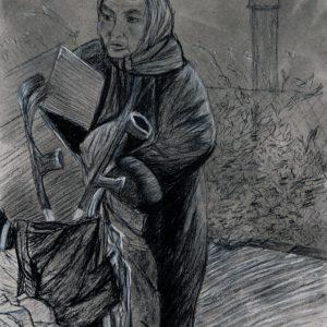 Heidrun Wettengl: The Dark Side, Tusche, Kohle, Kreide auf Papier, 56,5x39 cm, 2011. Alle Rechte vorbehalten.