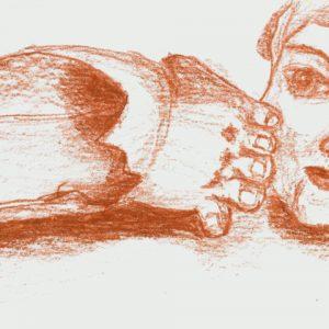 Heidrun Wettengl: Tritt 1, Rötel auf Papier, 26,2x9,9 cm, 2011. Alle Rechte vorbehalten.
