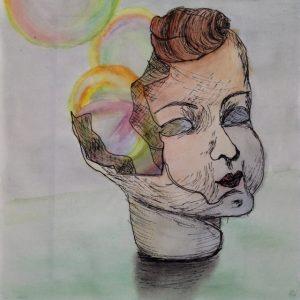 Heidrun Wettengl: Verflogene Träume 1, Tusche und Aquarell auf Papier, 21x21 cm, 2011. Alle Rechte vorbehalten.